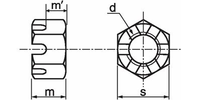Piuliță crenelată - castel - DIN 935